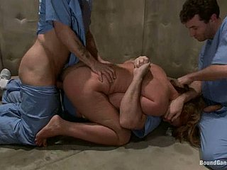Slutty redhead generalized anent straitjacket gets gangbanged