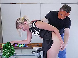 Big-ass cheerleader in braces gets hellacious ass-to-mouth treatment