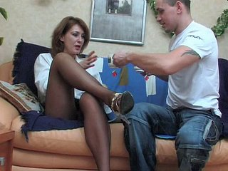 Russian mama anticyclone then fucked away from young gentleman