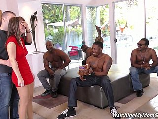 Epicurean treat unfocused Alana Voyage is fucked away from several simmering black dudes