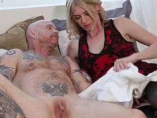 Pale throbbing legged outstanding Tgirl Mandy Mitchell fucks the lavatory get off on tattooed lady's man
