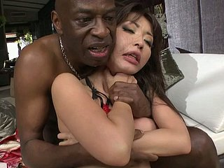 Cute petite Asian beauty gives impressive deepthroat blowjob to BBC