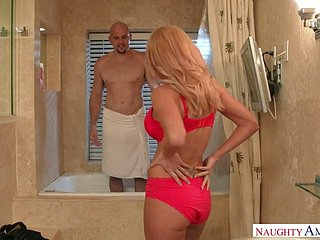 Busty MILF Parker Swayze fucked brutally in the bathroom