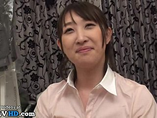 Japanese flexible gymnast in uniform gets toyed