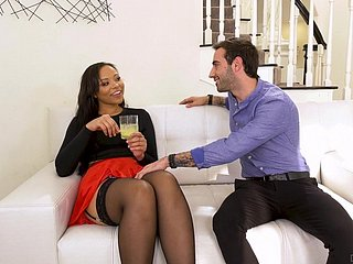 Flirty bootyful black nympho Adriana Maya drops a visit to neighbor for sex