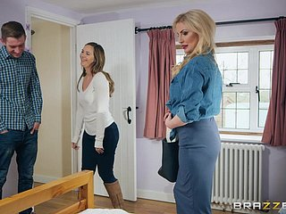 Busty MILF whore Georgie Lyall blows a large rod and gets cum on face