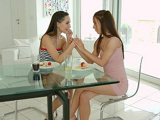 Marvelous real lesbian Nata Ocean is made to fingerfuck soaking shaved pussy