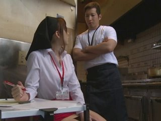 A naked serving-wench forwards Japanese coffee-house fucks patrons