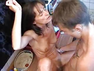 Starved Russian MILF fucks young guy.