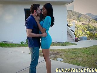 Dark schoolgirl Jenna Foxx takes a excursion exposed to hard cock
